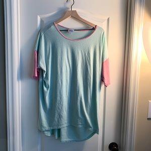 LuLaRoe light aquamarine & pink Irma Shirt Large